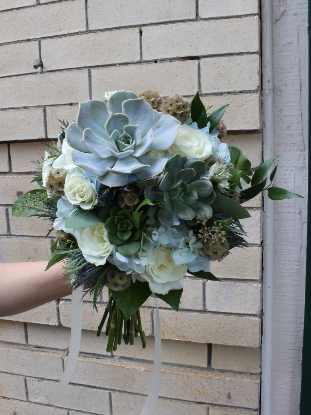 Succulents & White Roses