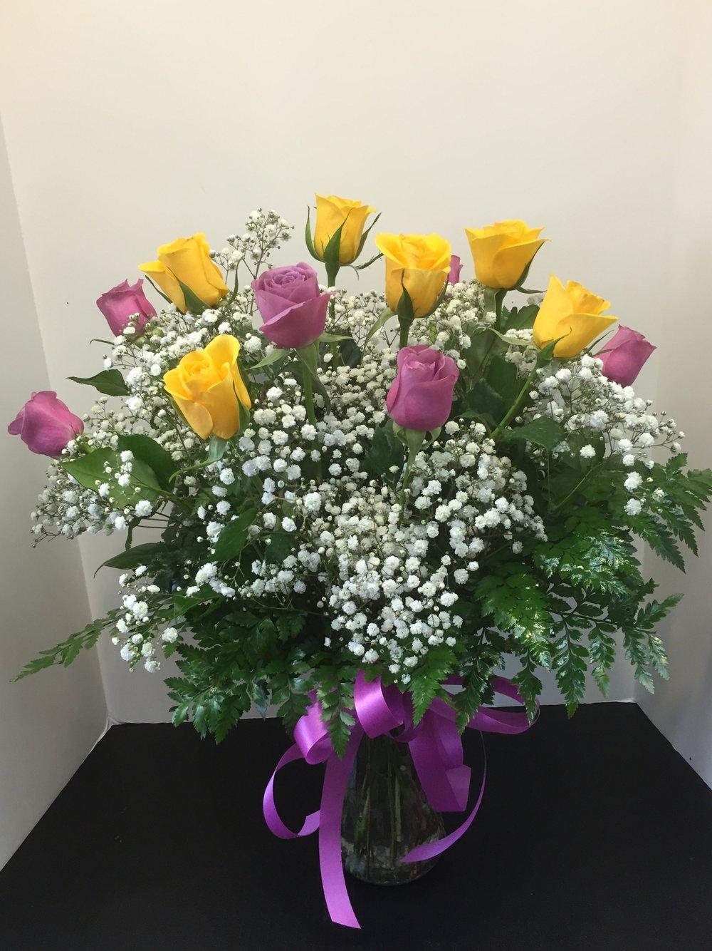 Yellow & Lavender Rose Bouquet