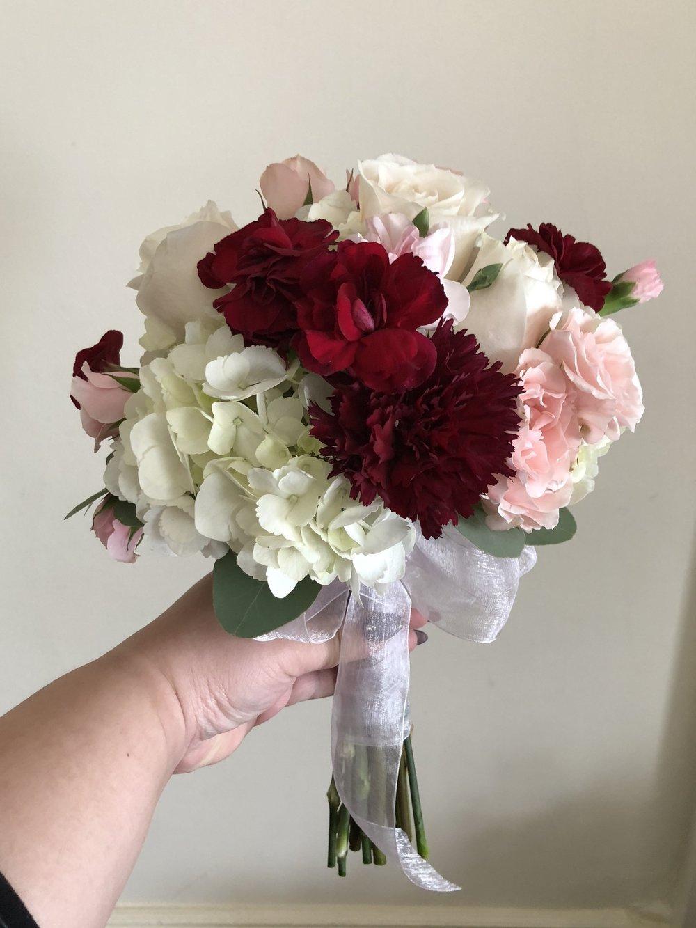 Burgundy, Blush & White Bridesmaid Bouquet