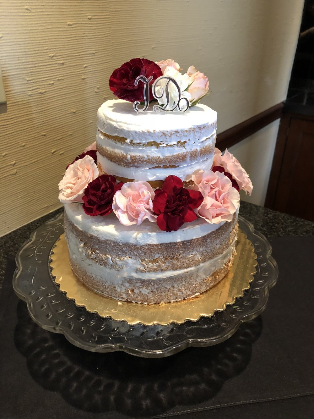 Burgundy, Blush & White Cake Flowers