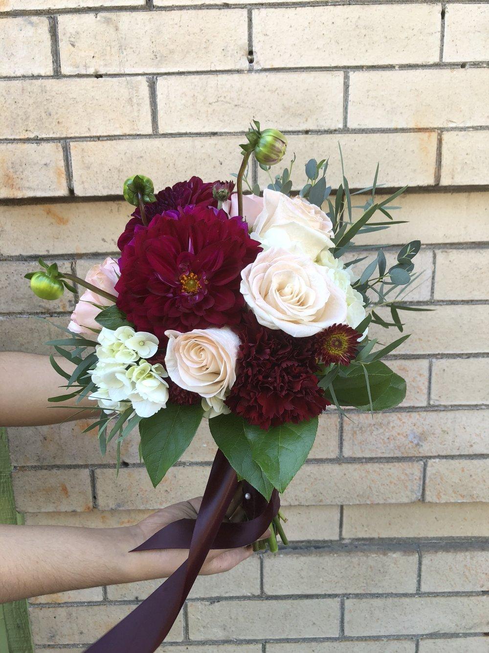 Burgundy & Blush Bridesmaid Bouquet