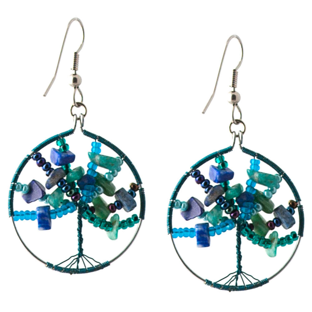 Blue/green tree of life earrings   $25.00