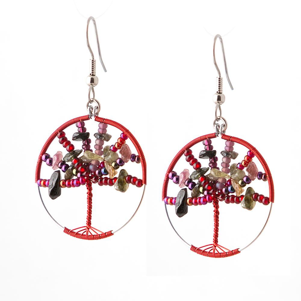 Garnet Tree of Life Earrings   $25.00