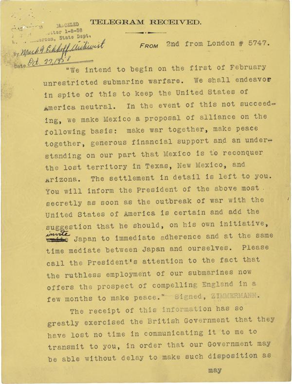 Translation of the Zimmermann Telegram