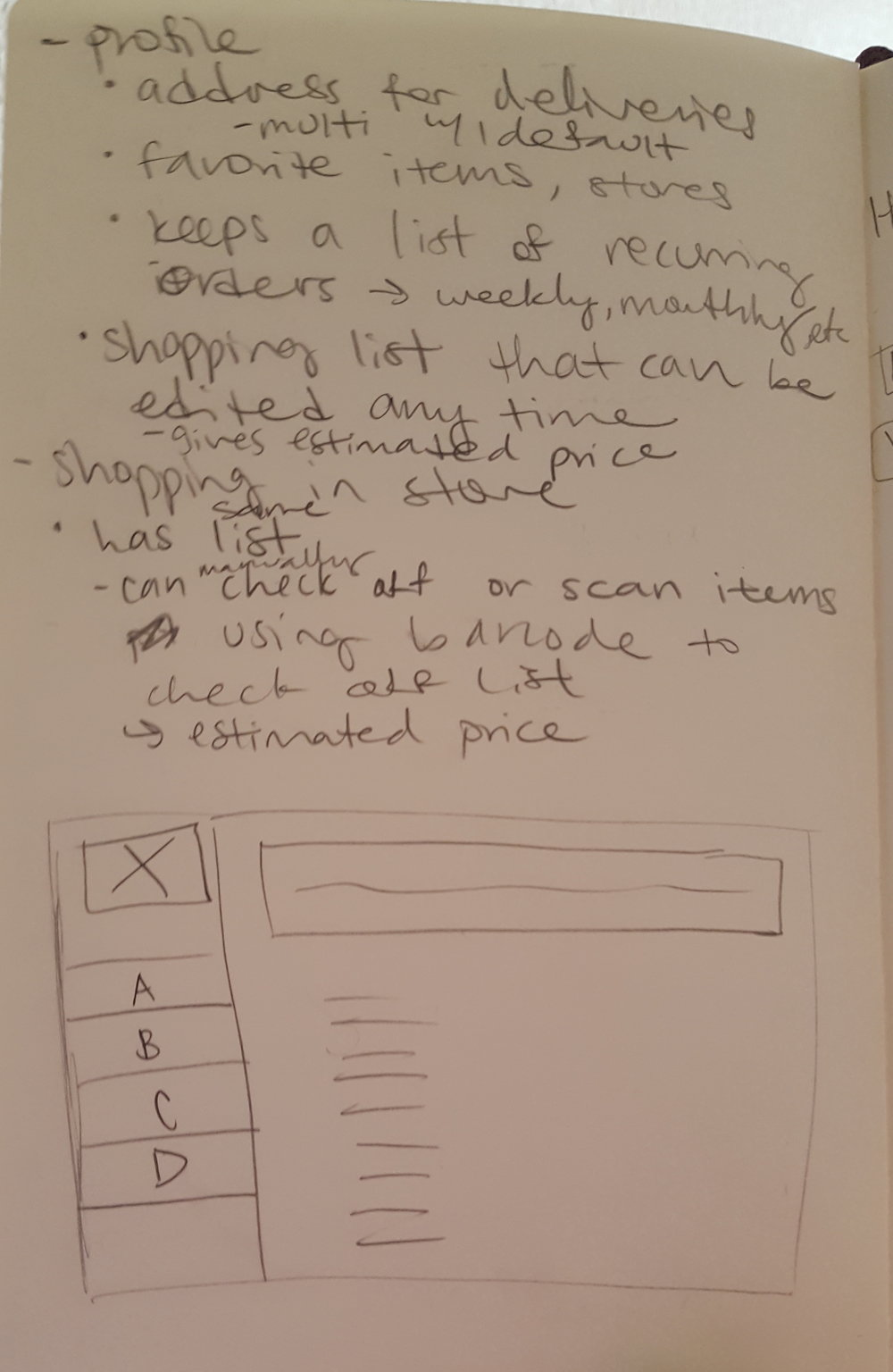 grocery shopping app wireframe prototype amy tang