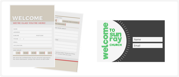 Church connection card examples