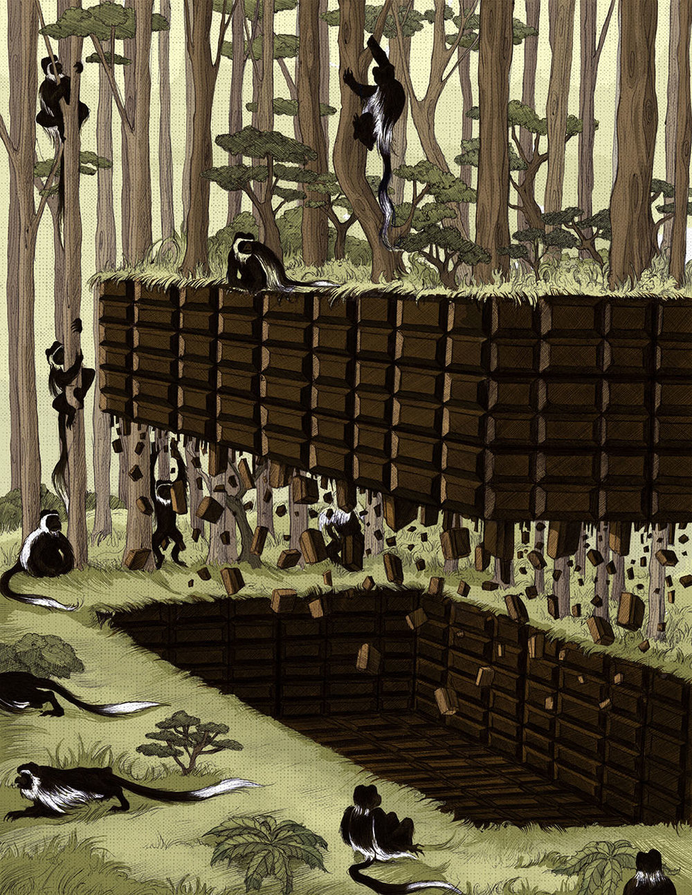 Mock Illustration for Smithsonian Magazine Article: Illegal Cocoa Farms Are Driving Out Primates In Ivory Coast