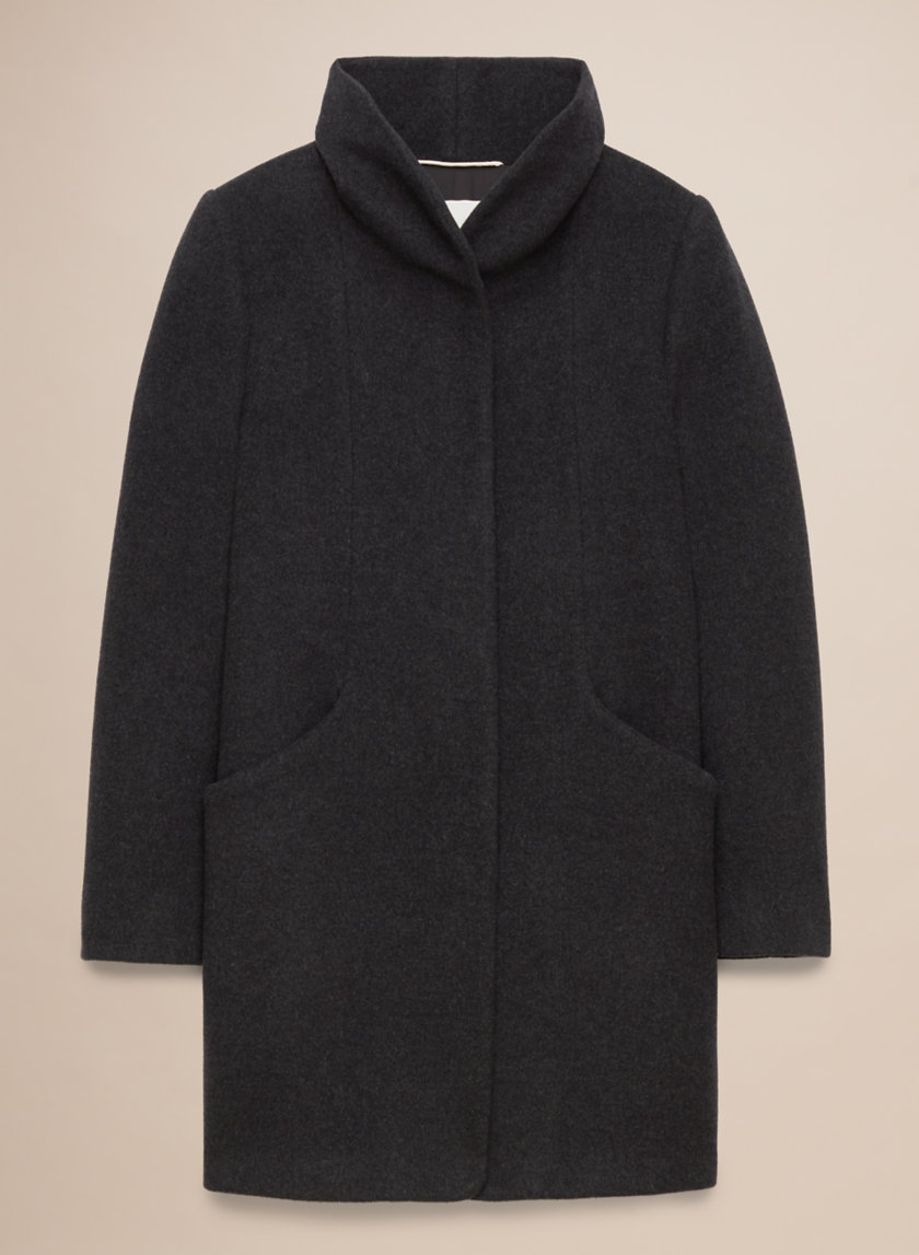Wilfred Cocoon Coat in charcoal - button-closure in a wool and cashmere blend