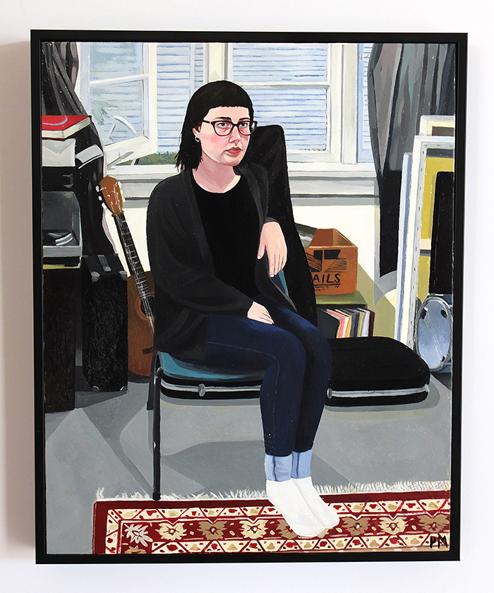 Domestic Self-Portrait, 2015. Pricilla McIntosh. Enamel paint on board. Adam Portraiture Award 2016 finalist.