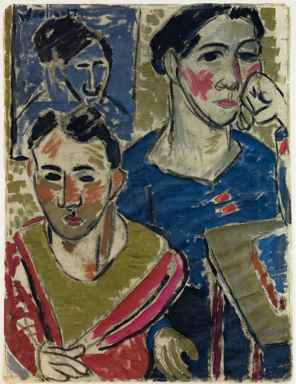 Figures from Life, 1936, Sir Tosswill Woollaston, oil and charcoal on paper Auckland Art Gallery Toi o Tamaki, gift of Colin McCahon, 1954