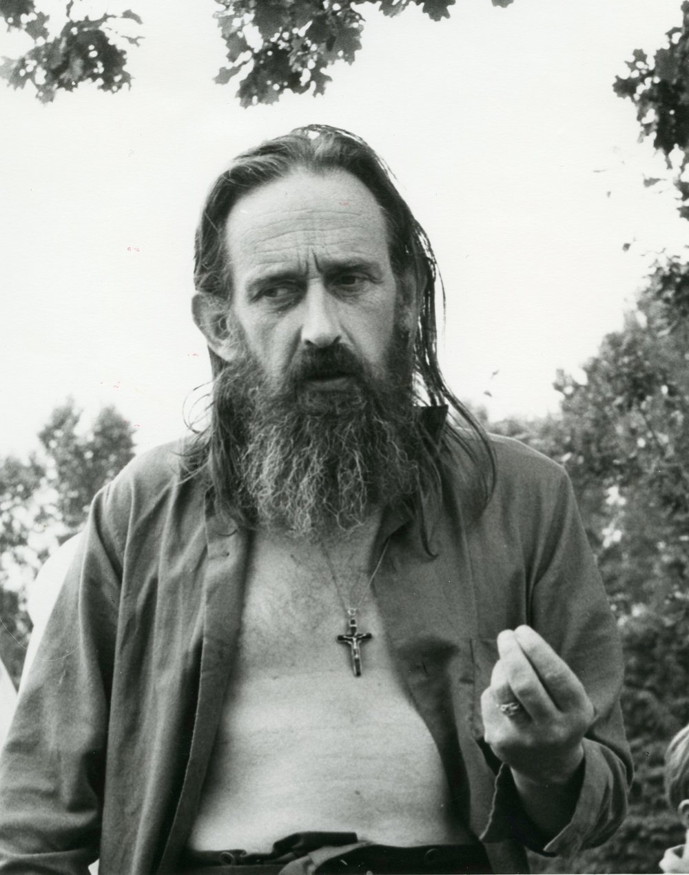James K. Baxter at Horo Horo Students Camp, 1971, photographed by Ans Westra