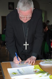 Archbishop Bernard Longley pledging to stay silent