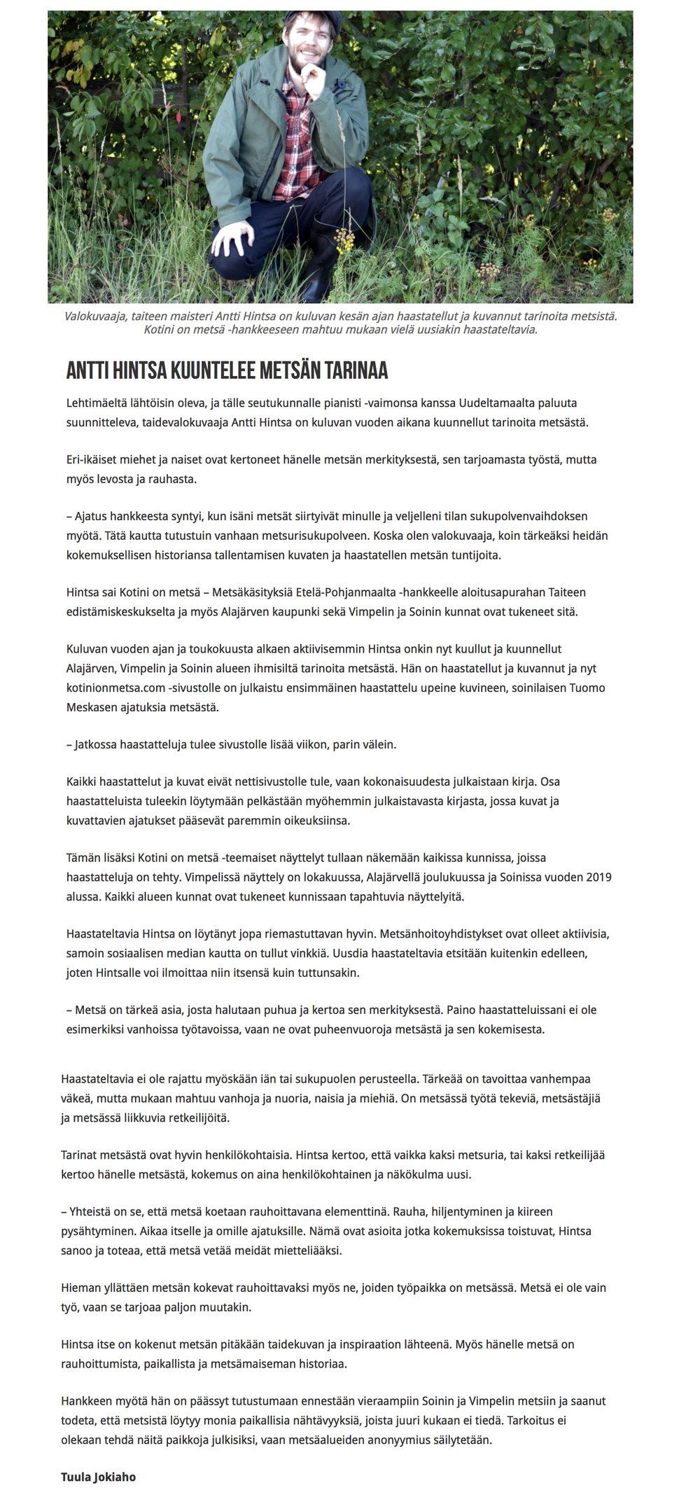Julkaistu Torstai-lehdessä syyskuussa 2018 (yllä)