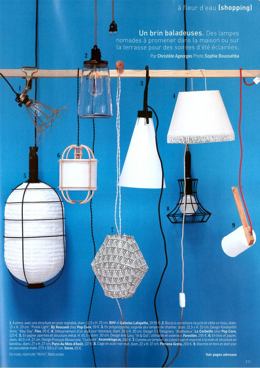 Notre suspension Curiosité dans la sélection shopping Marie Claire Maison en septembre 2015