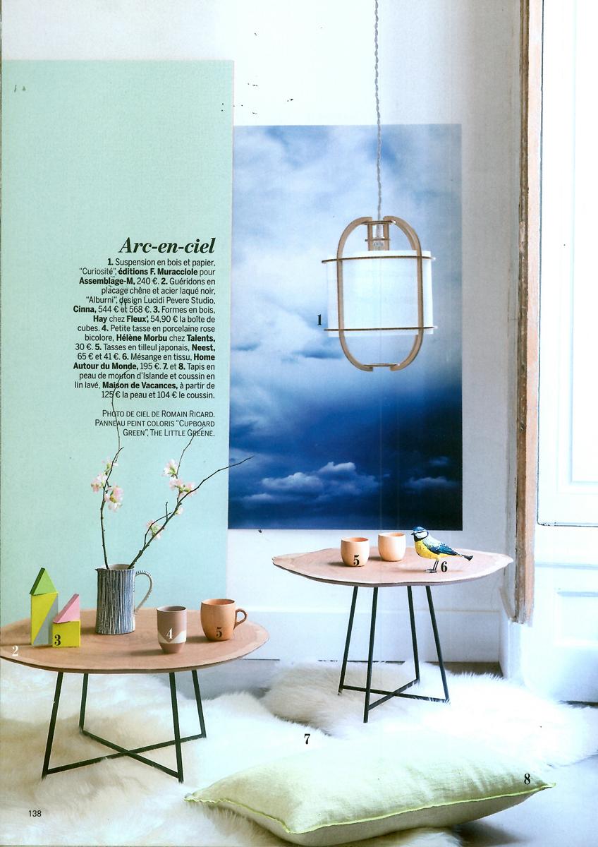 Notre suspension Curiosité en couverture du Marie Claire Maison en avril 2014