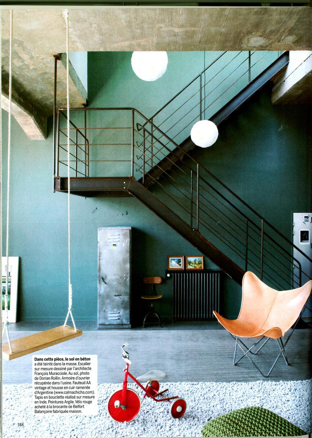 Escalier dessinépar François Muracciole pour Assemblage.M dans Marie Claire Maison mai-juin 2014