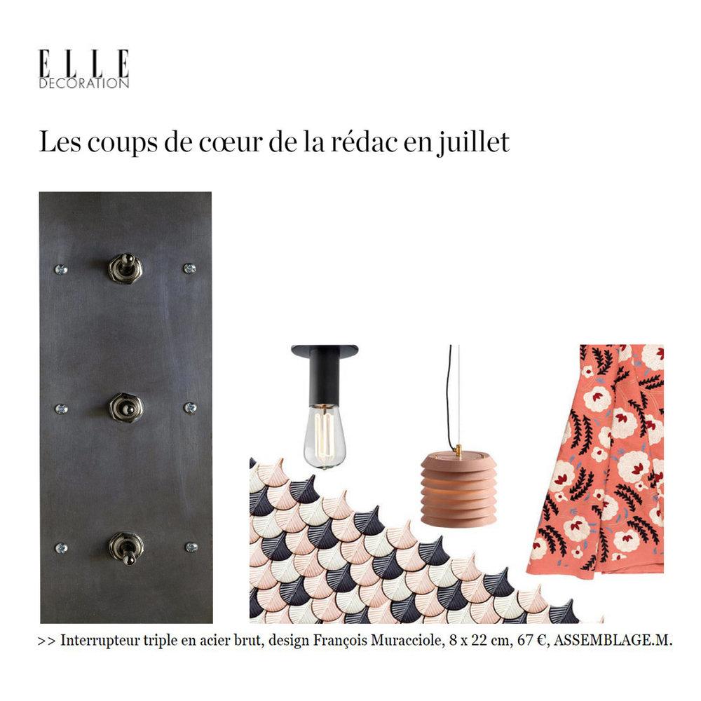 """Notre interrupteur triple sélectionné dans """"Les coups de coeur de la rédac"""" dans le ELLE déco en juillet 2016"""
