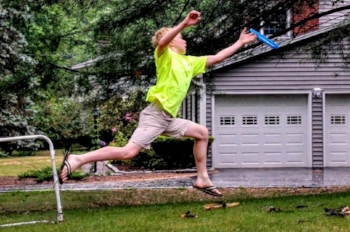 A simple frisbee game elevates the heart rate and challenges the body.