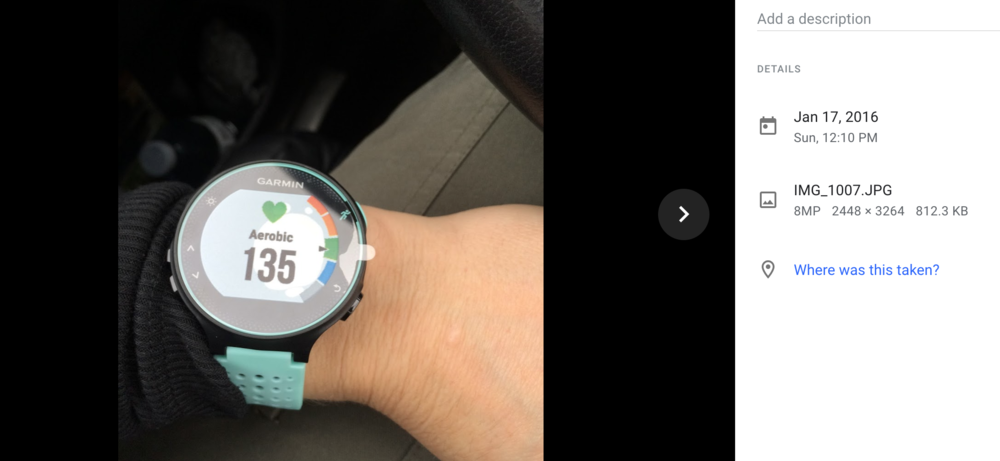 Was so excited that I actually texted a picture to my husband of my new watch while in my car after exiting the Fleet Feet store in Colonie, NY!