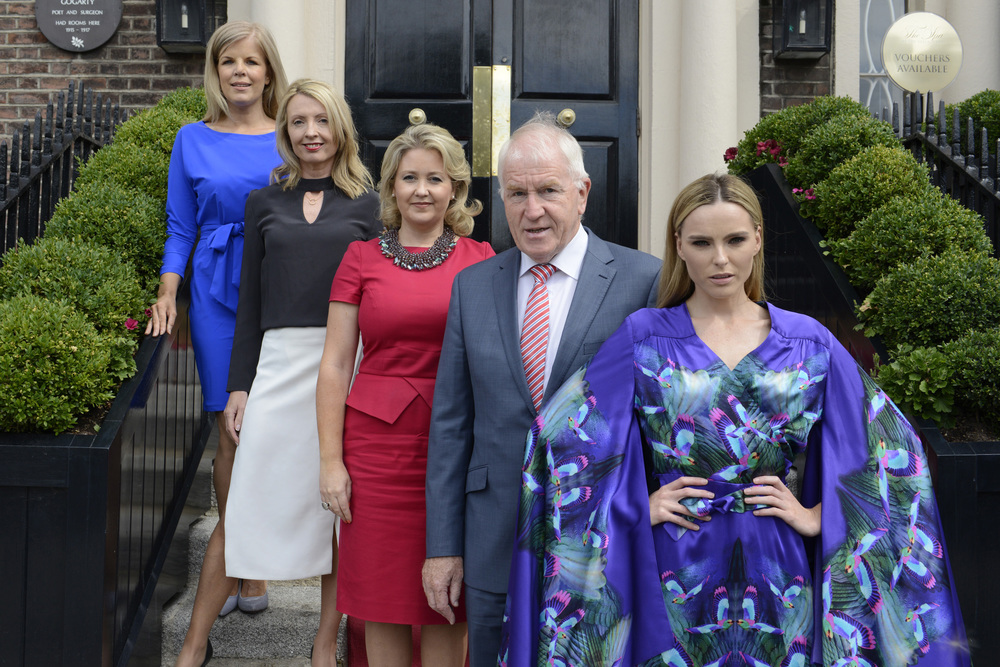 Press launch July 2015, The Shelbourne Hotel. Dublin. From Left: Marietta Doran, Orla Diffily, Karen Hennessy, Minister Deenihan and model Sarah Morrissey wearing jennifer Rothwell.