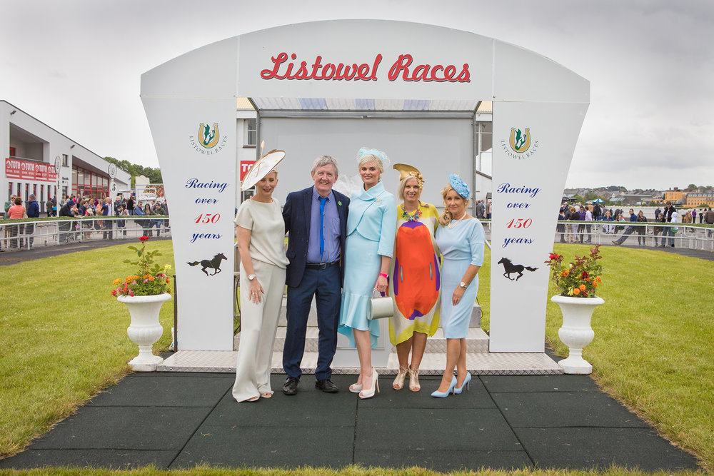 Aisling O Loughlin, David Fitzmaurice (Chairman Listowel Race Company), Margaret Hynes Cahill, Orlagh Winters and Eilish Stack