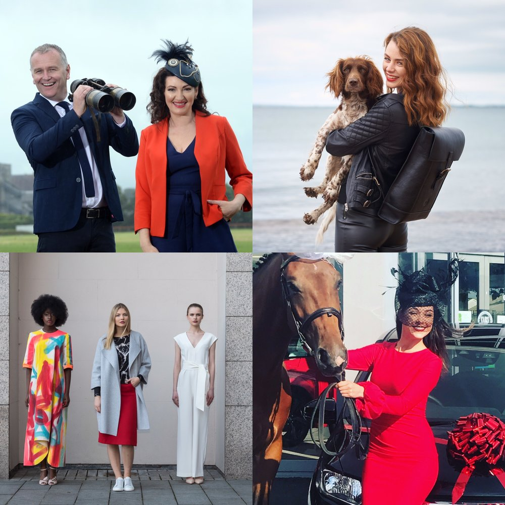 Clockwise : Daithi O Se and Maura Derrane at the launch of McElligotts Honda Ladies Day at Listowel Races 2017 ( Photo Credit: MacMonagle),  Aoife & Beth model the iconic new Holden Backpack  (Photo Credit: Barry Murphy),  Aishling O Connell and Casper (the horse!) at McElligotts Tralee, Launch of KFW Irish Fashion Industry Awards in the Intercontinental Hotel Dublin  (Photo Credit: Barry Murphy) .