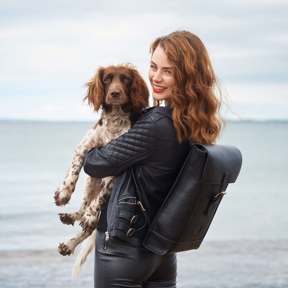 Model Aoife Healy with Beth  . . . Aoife is wearing the iconic Holden Backpack (Photo Credit: Barry Murphy)