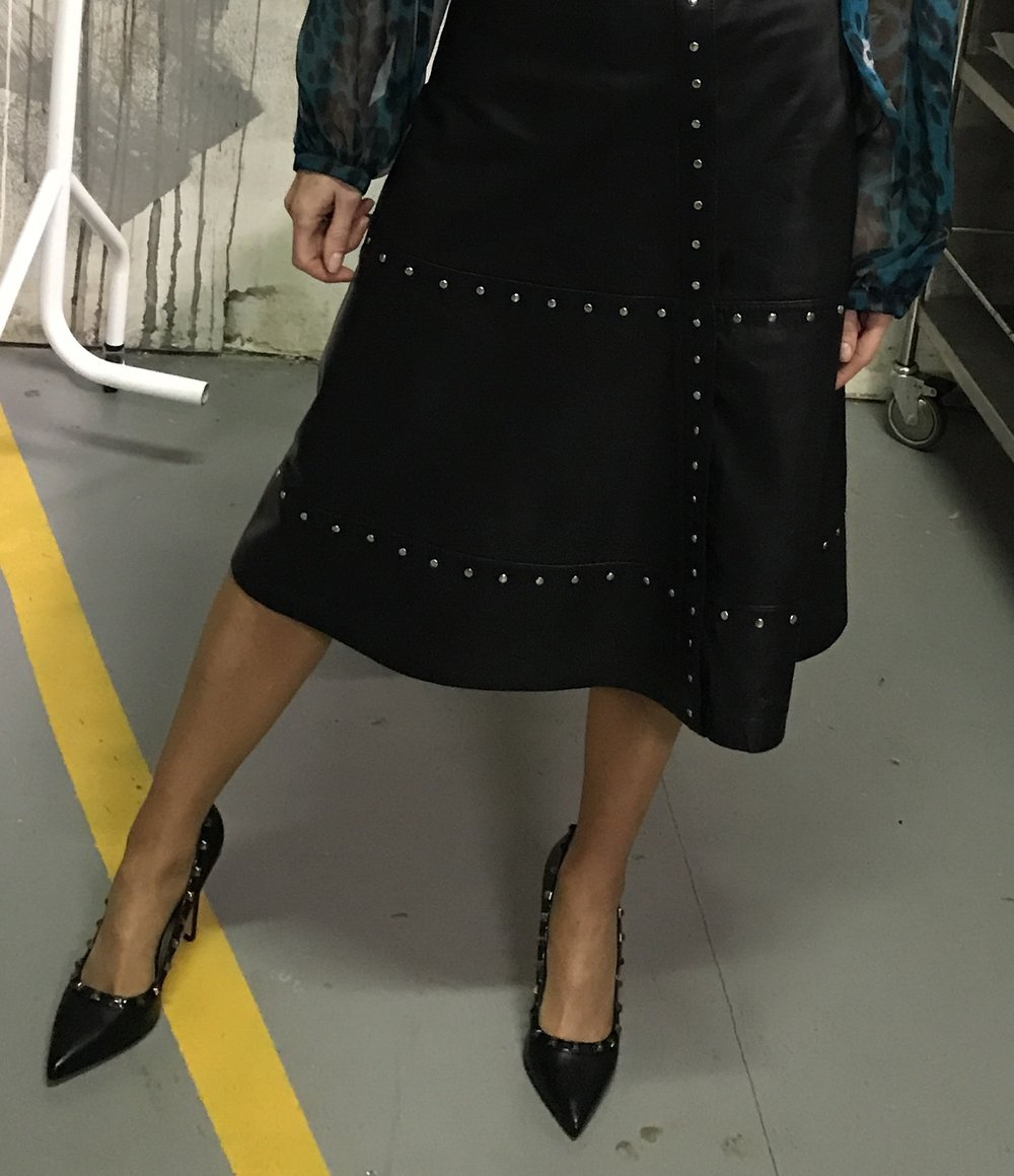My studded leather skirt is from Hannons of Castleisland and studded heels are from Footprints in Listowel. My blouse (partly photographed!) is from Hannons of Castleisland