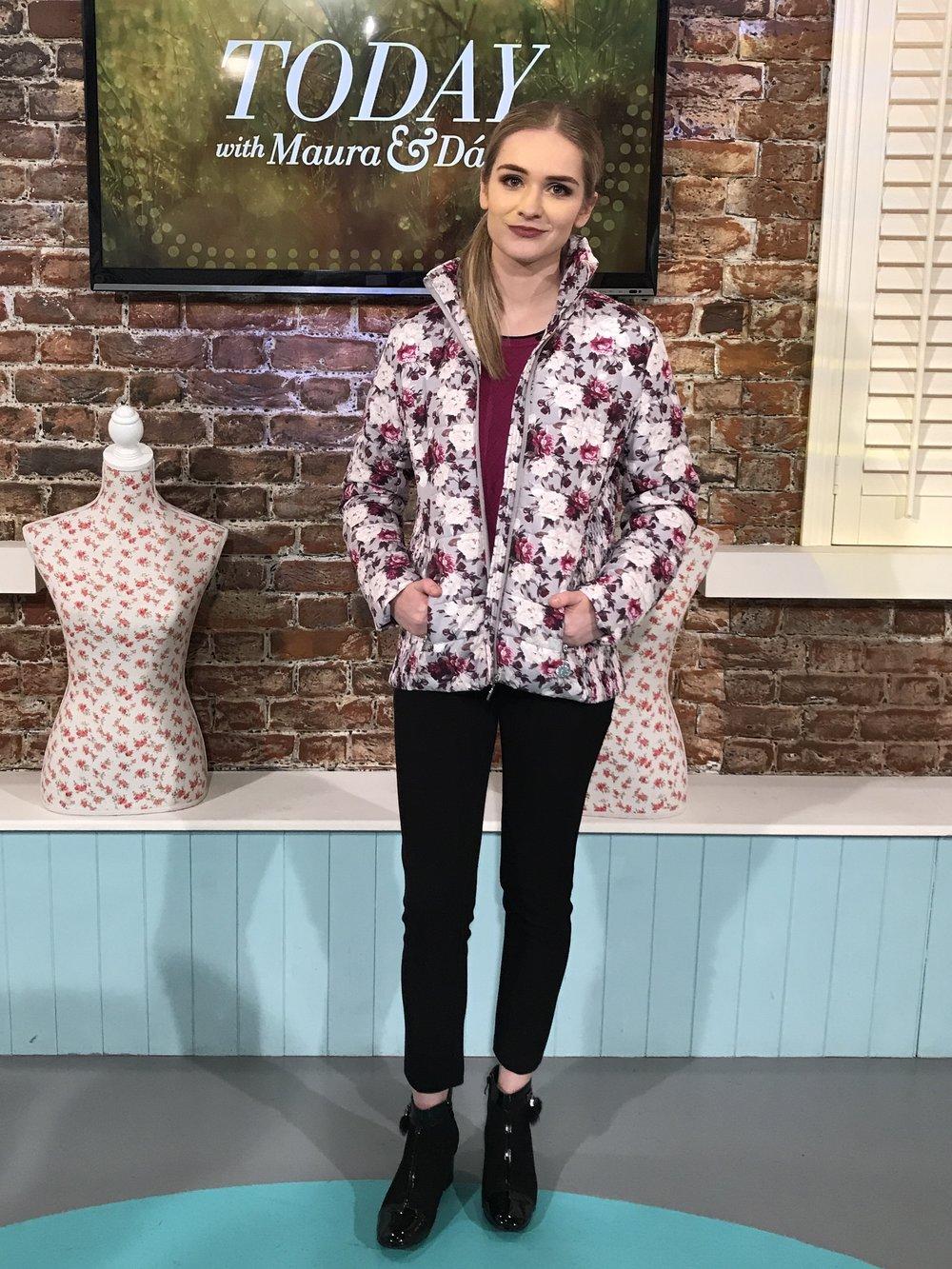Blossom Printed Jacket : €65.  Sizes S-XL   Argyle Detail Sweater : €22.  Sizes S-XL. Other Colours: Cherry & Blue   Zip Pocket Trouser : €24.95.  Sizes 8-18