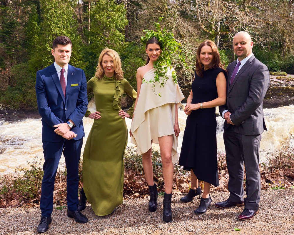 Team work, Robbie O Donoghue, Assistant Manager, Sheen Falls with Orla Diffily, model Anna Cahill, creative director, Ann Marie O'Leary and production director, Ray Stack. (Photo credit: Barry Murphy)