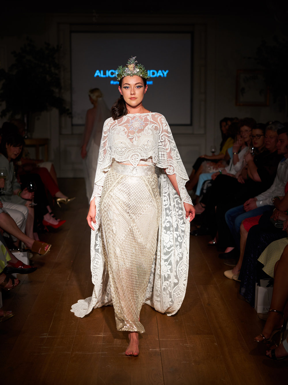 "Model Aishling O Connell wears Alice Halliday at ""An Enchanted Forest"". Photo: Barry Murphy"