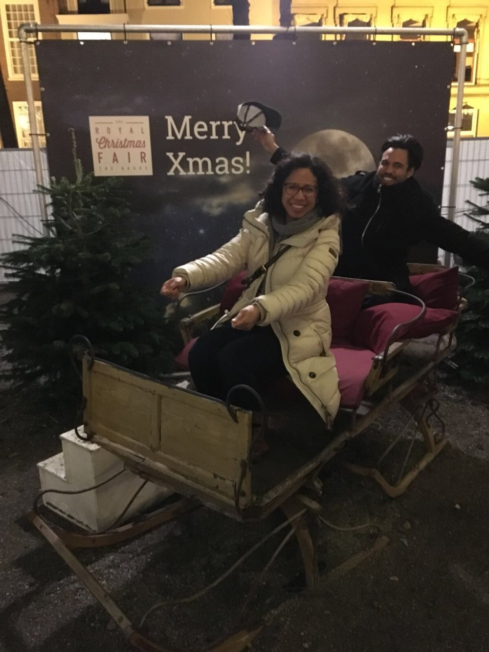 Riding a sleigh with my brother