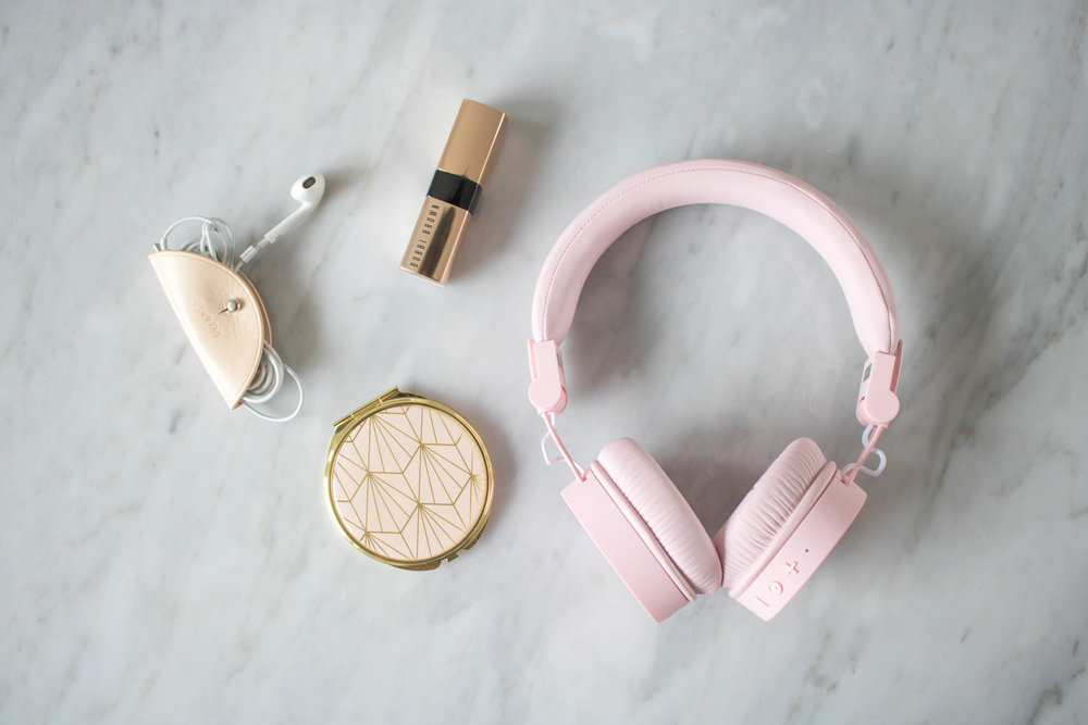 Pink wireless headphones