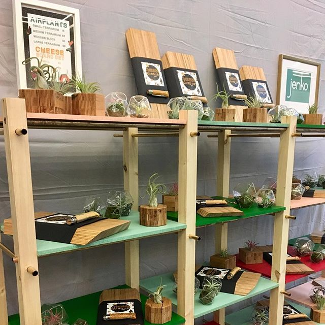Cheese board sets and terrariums by #jenkodesign selling at the #dublinchristmasflea