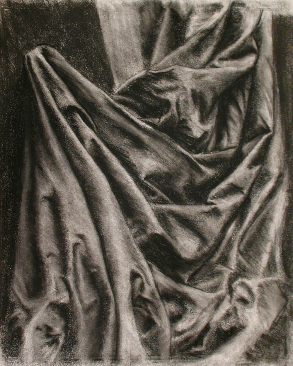 Drapery Study in Charcoal