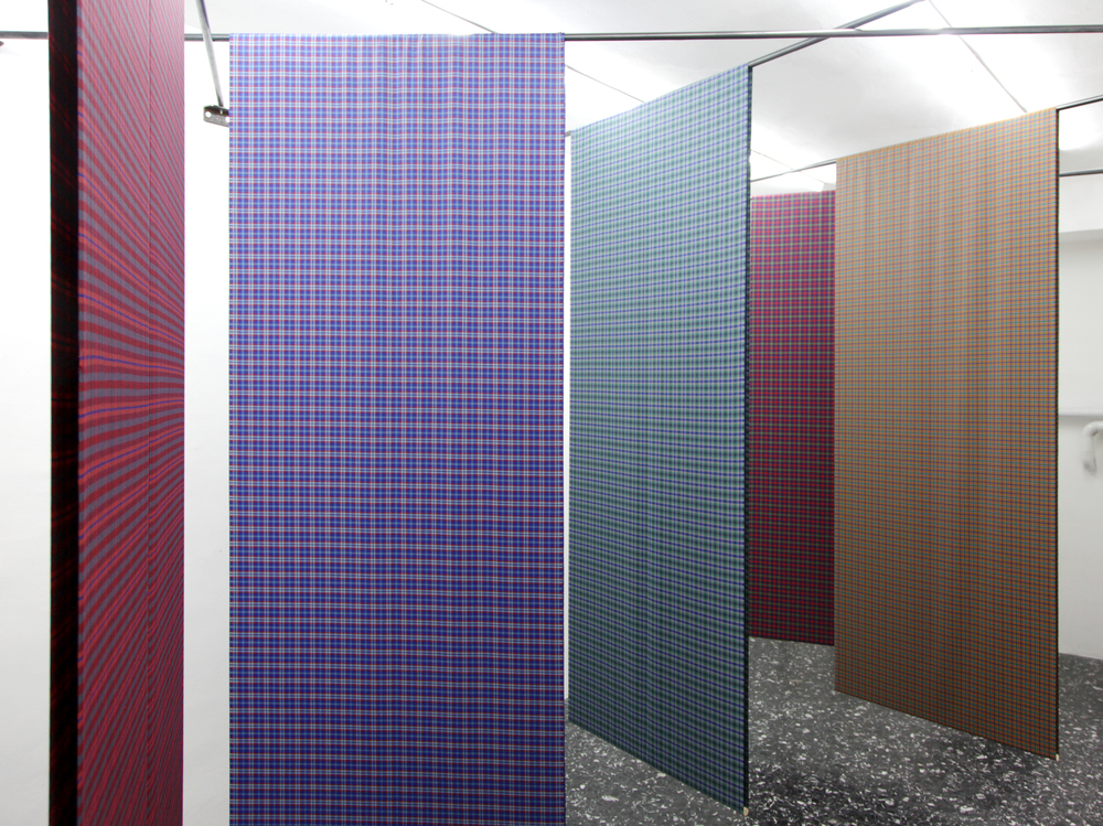 The e Warp And e Weft, 2012, medium weight wool fabric , Variable dimension , Installation View at Peep Hole, Milano, C.sy the Artist