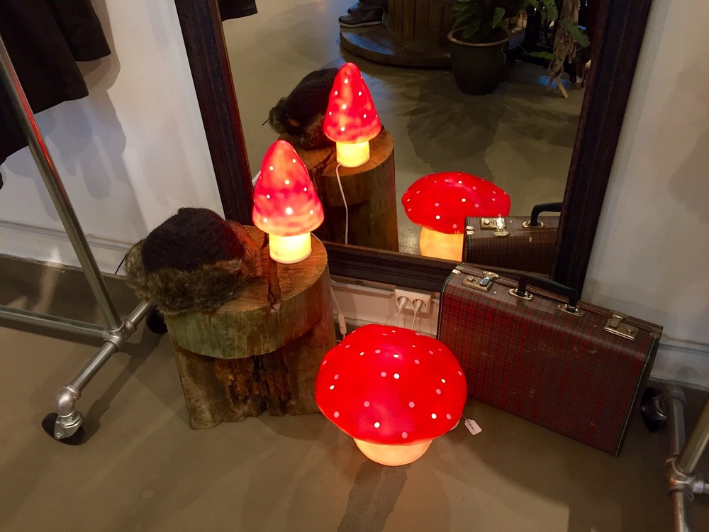 Toadstool lamps for sale at the Farmers Market flagship store in Reykjavik's Fishpacking District