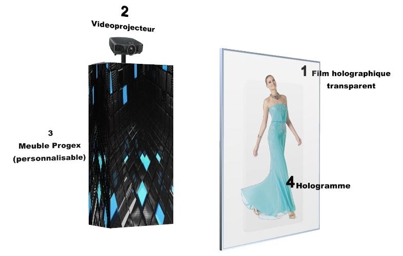 Installation vitrine hologramme