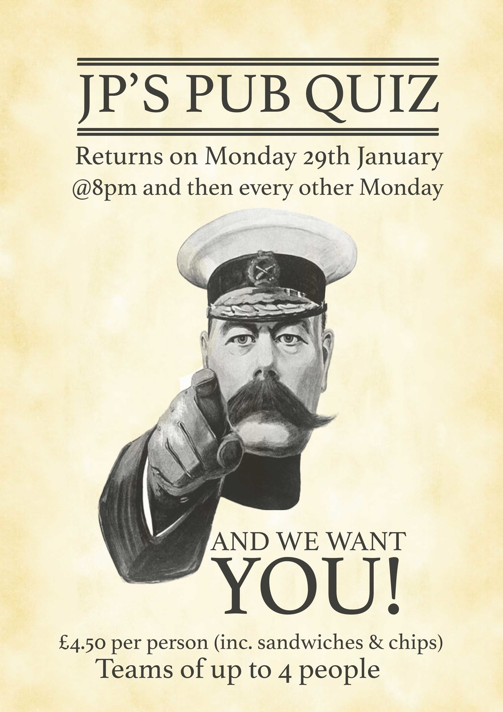 The Return of JP's Pub Quiz at the Griffin Inn, Swithland. Starts Monday 29th January, then every two weeks. Starts 8pm. £4.50 per person. Teams of up to 4 people. Cash Prize for the winning team.