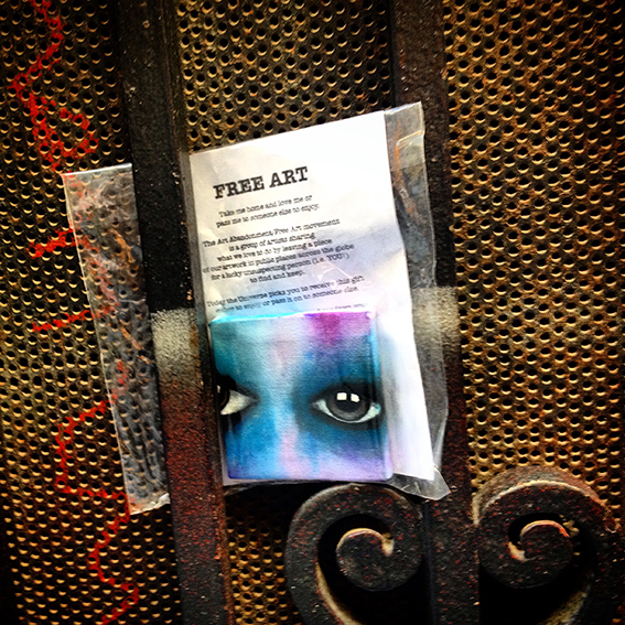 Eyes Mini Canvas left just off La Ramblas in Barcelona