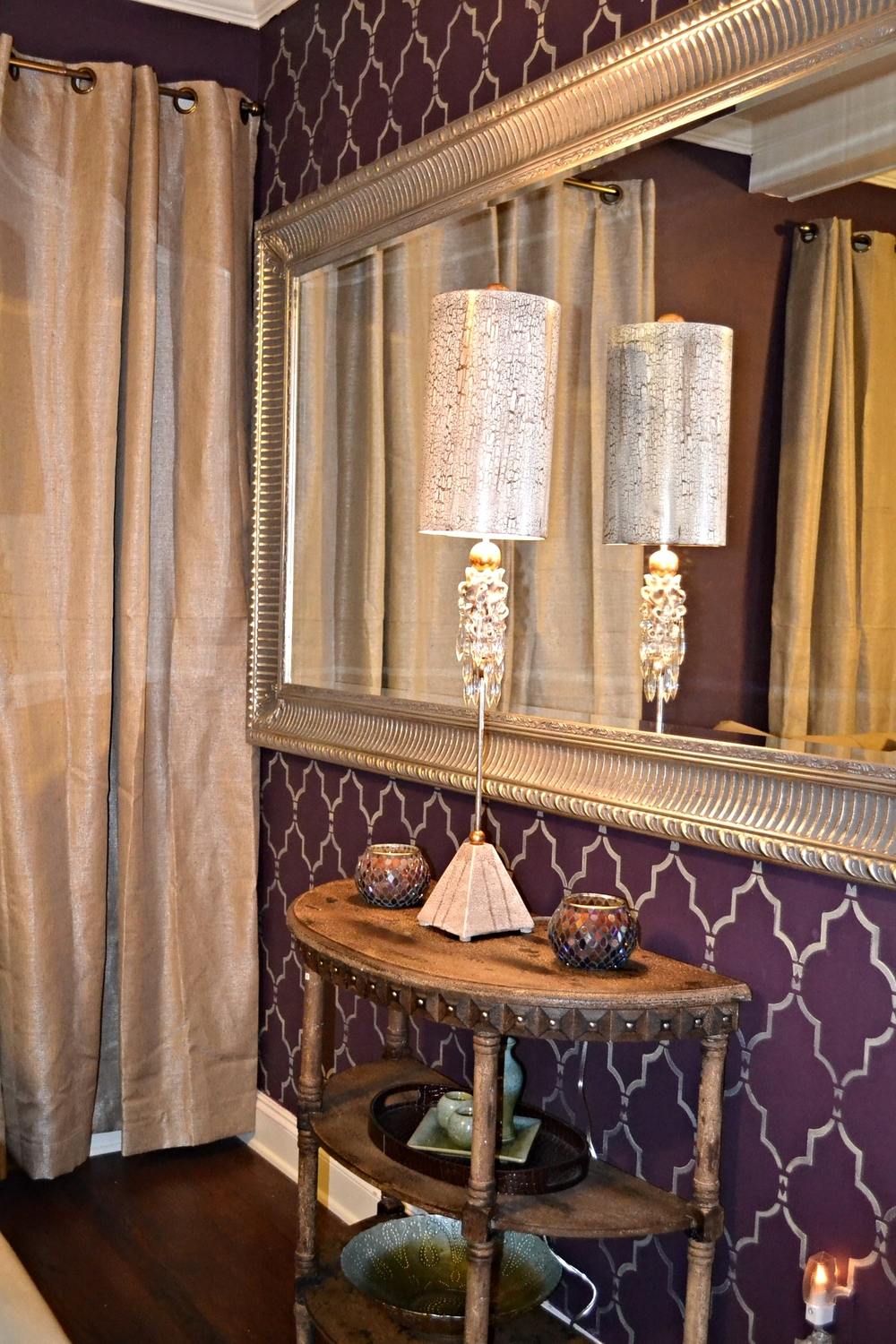 Gorgeous oversized wall mirror, console table and lamp
