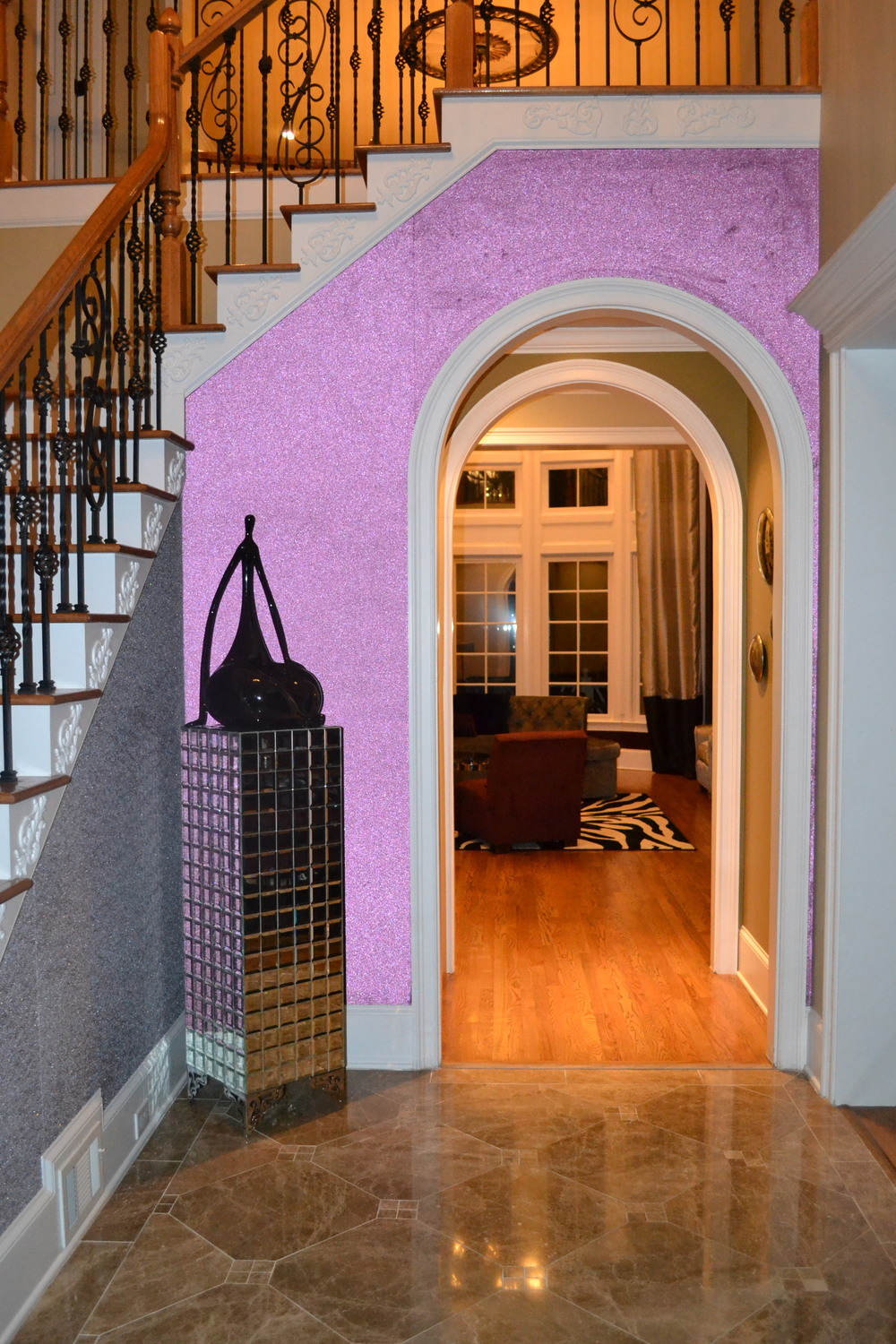 Iridescent Purple Glass beaded wallpaper in foyer