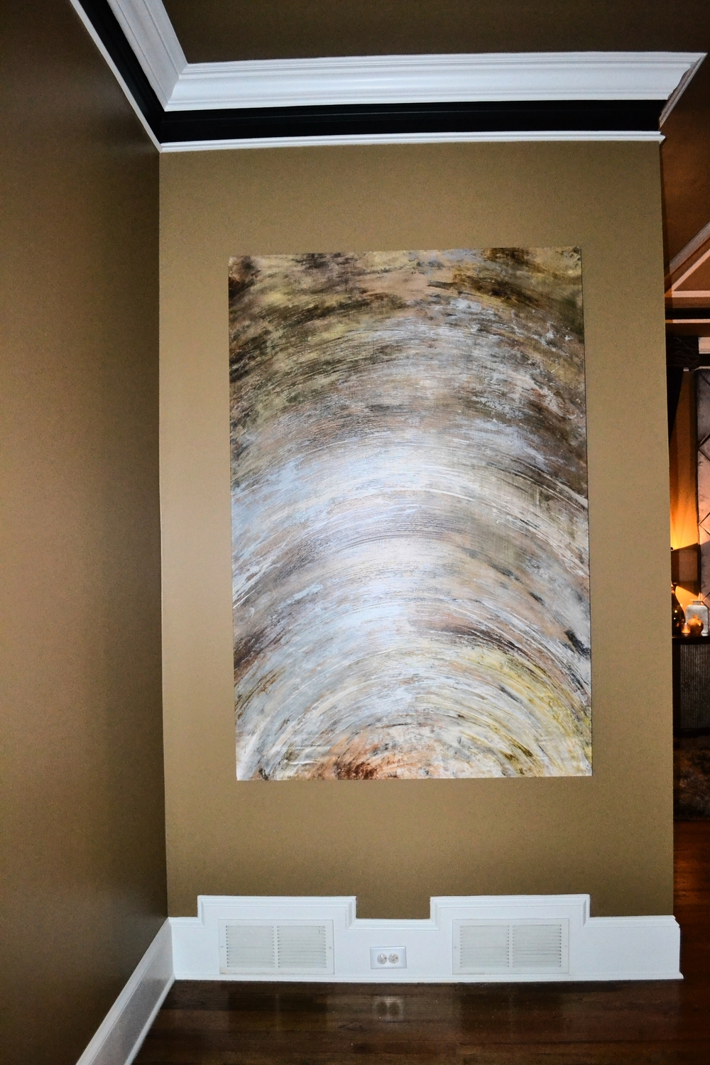 Large scale abstract painting for master bedroom entry