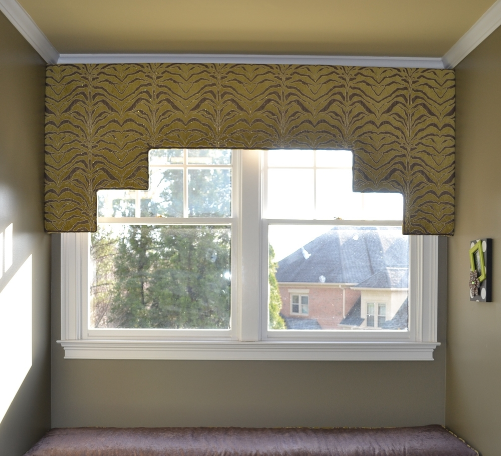 Custom cornice board, both fashionable and functional.
