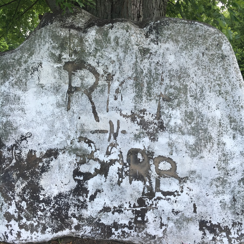 P.S. - I  can't let this go without posting it. Check out the rock we were standing beside while we waited for the tow truck to arrive. Do you see it..... R -n- B? Get it, Russ & Betsy! I pinky swear that we did not etch that in the rock. No matter how rough today's events were, it was meant to be! We are blessed.