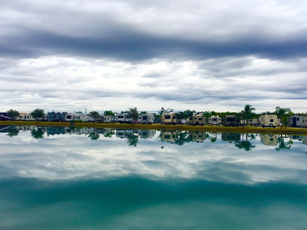 A sucker for a good reflection, this photo makes this year's list. Our across-the-lake neighbors at Texas Lakeside RV Resort in Port Lavaca are seen in double along with a shelf of ominous clouds lurking above as well us back up at you in the reflection.