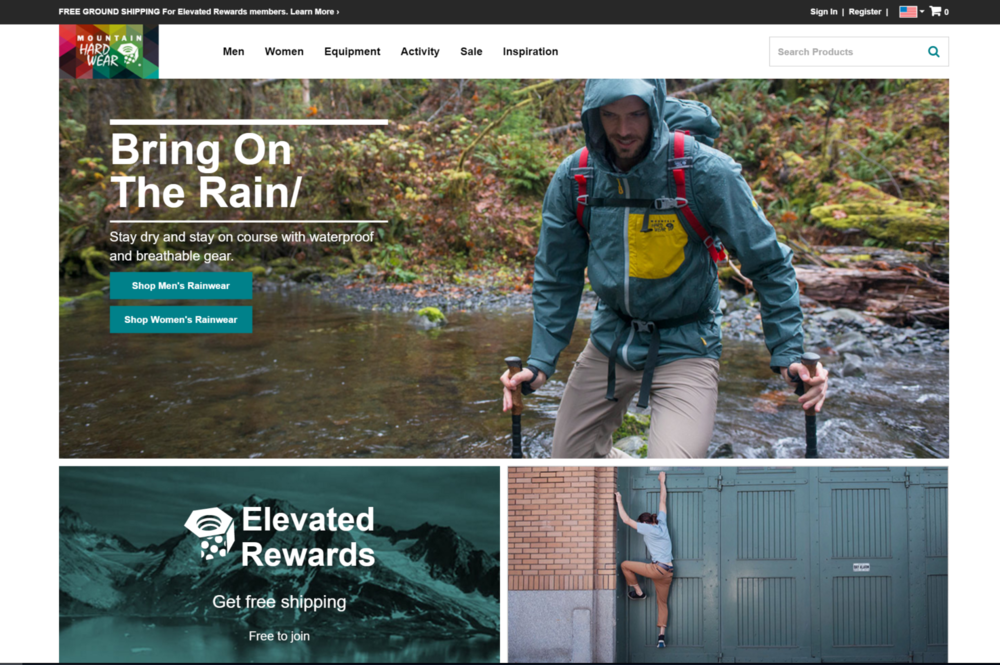 Mountain Hardwear website home