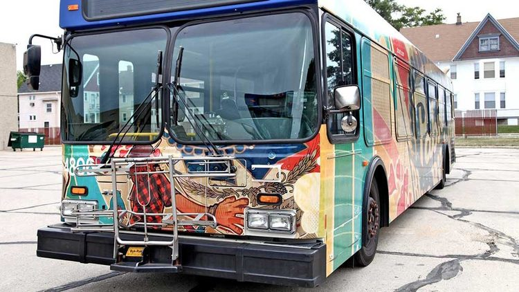 Pabst Blue Ribbon Bus Art