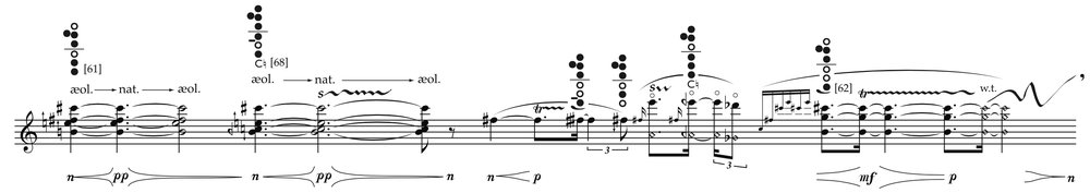 John Croft,  …ne l'aura che trema  (2009-10), for alto flute and live electronics, excerpt (page 2).