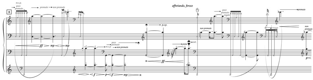 John Croft,  la terra lagrimosa...una luce vermiglia  (2006; revised 2010), for cello and live electronics, excerpt (page 4).